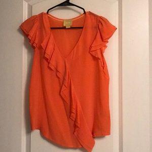 Coral orange ruffle front flutter sleeve blouse